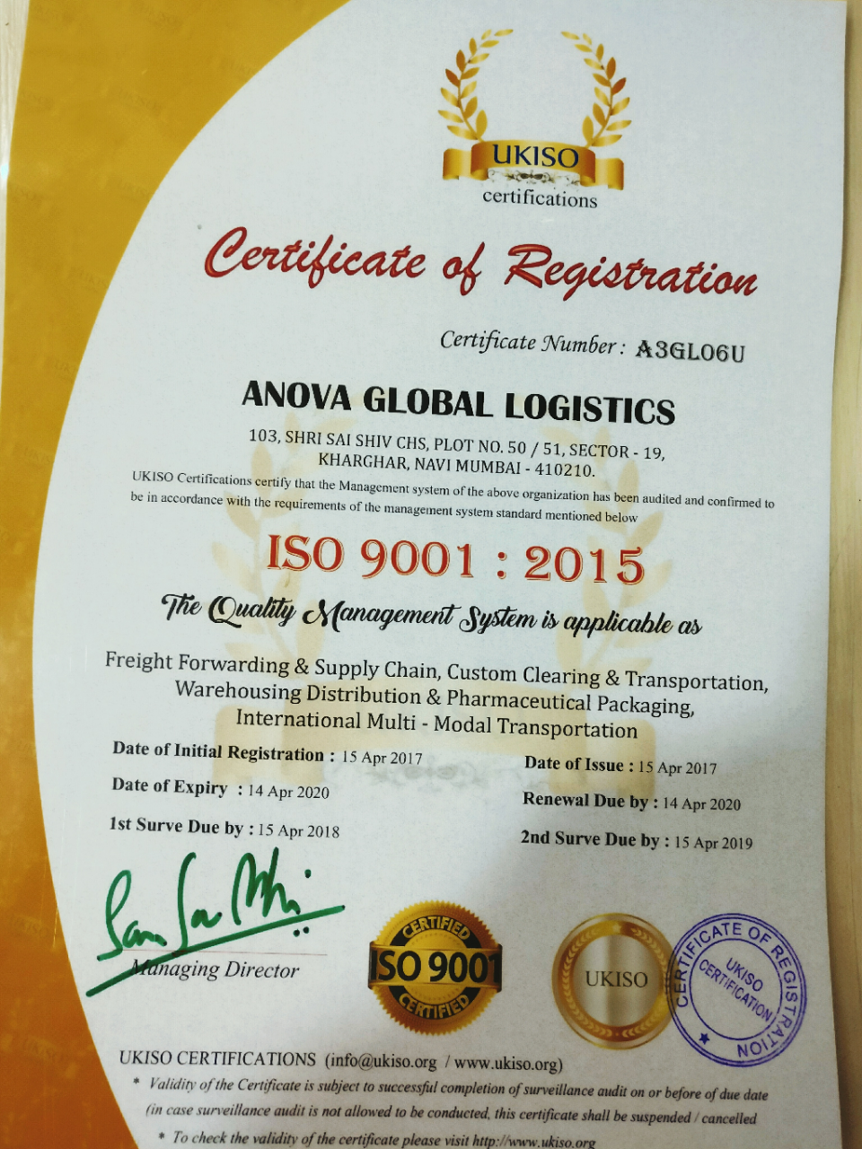 Certifications Anova Global Logistics